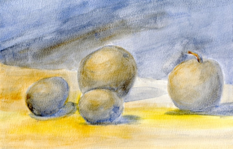 Schülerarbeiten Kl. 9, farbiges Naturstudium, Aquarell Lasurtechnik: Stillleben, in komplementären Tonwerten