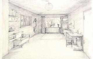 """Schülerarbeiten, Kl. 9, Perspektive: Innenraum mit einem Fluchtpunkt """"Mein Zimmer"""""""