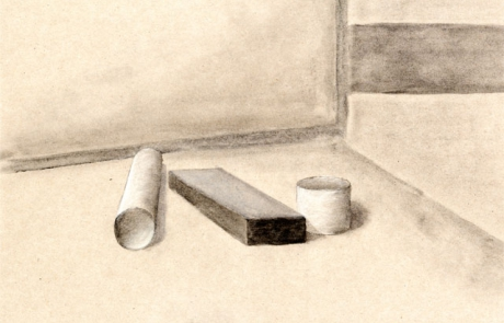 Schülerarbeiten, Kl. 9, Perspektive: Stilllebenmotiv mit Verkürzungen